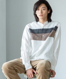 coen/チェストパッチワークバンドカラーシャツ/502492491
