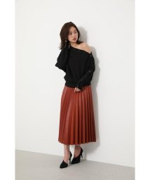 rienda/F Leather Pleat J/W Long SK/502504241
