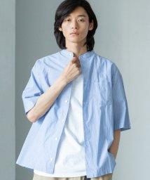 coen/ストライプバンドカラーワイドフィットシャツ/502492652