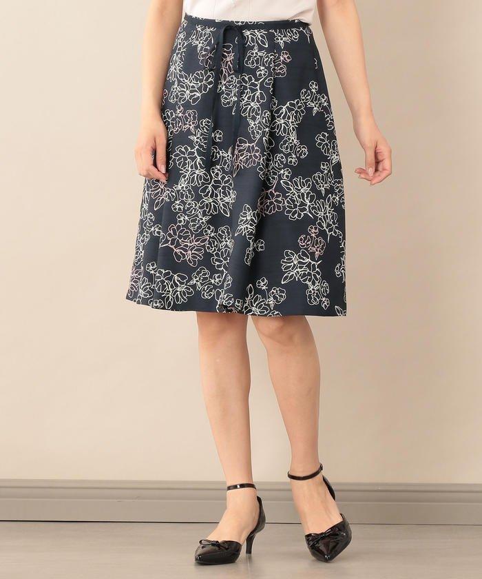 【Sサイズ〜】【ウォッシャブル】ラインフラワープリントスカート
