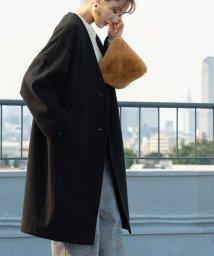 coen/【WEB限定カラー:ブラック・ナチュラル】ジャージメルトンVネックノーカラーコート/502513291
