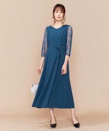 KUMIKYOKU(LARGE SIZE)/【PRIER】レーススリーブロングF&F ドレス/502516132