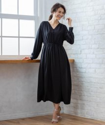 KUMIKYOKU/【PRIER】ボリュームスリーブVネックギャザーロング ドレス/502516139