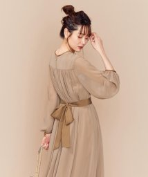 KUMIKYOKU(LARGE SIZE)/【PRIER】BIGリボンギャザーロングワンピース ドレス/502517108
