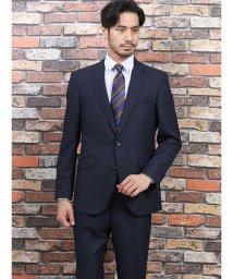 m.f.editorial/洗えるスラックス レギュラーフィット2ピーススーツ グレンチェック 紺/502518111