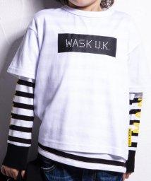WASK/ボックスプリントTシャツXボーダーロンTシャツセット(110cm~130cm)/502460622