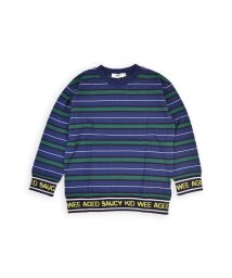 WASK/ロゴリブボーダーTシャツ(110cm~130cm)/502460657