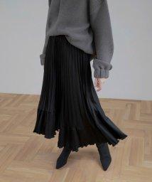 MIELIINVARIANT/Irregular Hem Pleat Skirt/502528662