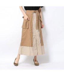 STYLEBLOCK/スタイルブロック STYLEBLOCK 綿ツイル配色フレアロングスカート (ベージュ)/502529058