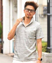 LUXSTYLE/ランダムテレコリブワイヤーカラー半袖スキッパーポロシャツ/ポロシャツ メンズ 半袖  イタリアンカラー スキッパー テレコ/502520508