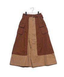 STYLEBLOCK/スタイルブロック STYLEBLOCK 綿ツイル配色フレアロングスカート (ブラウン)/502529904