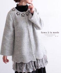 Sawa a la mode/花飾り付き裾レースノーカラーコート/502530459
