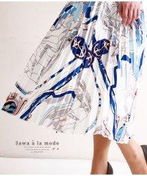 Sawa a la mode/スカーフ柄がエレガントなプリーツスカート/502530531
