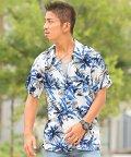 LUXSTYLE/ボタニカル柄オープンカラー半袖シャツ/シャツ メンズ オープンカラー 半袖 ボタニカル/502531438