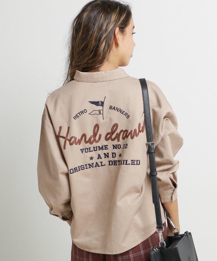 BACK刺繍長袖シャツ