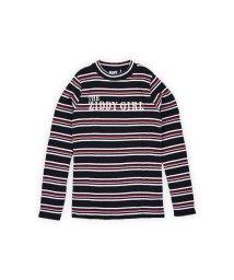 ZIDDY/マルチボーダーリブショートネックTシャツ/502460615