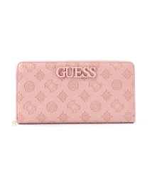 GUESS/ゲス GUESS ANELLE LOGO-DEBOSSED CHECK ORGANIZER (ROSEWOOD)/502536475