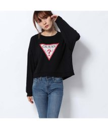 GUESS/ゲス GUESS TRIANGLE LOGO ICONIC FLEECE SWEAT (JET BLACK BURNOUT)/502544436