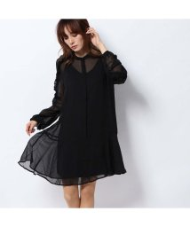 GUESS/ゲス GUESS REANNA ASYMMETRIC HEM FRILL DRESS (JET BLACK)/502544442