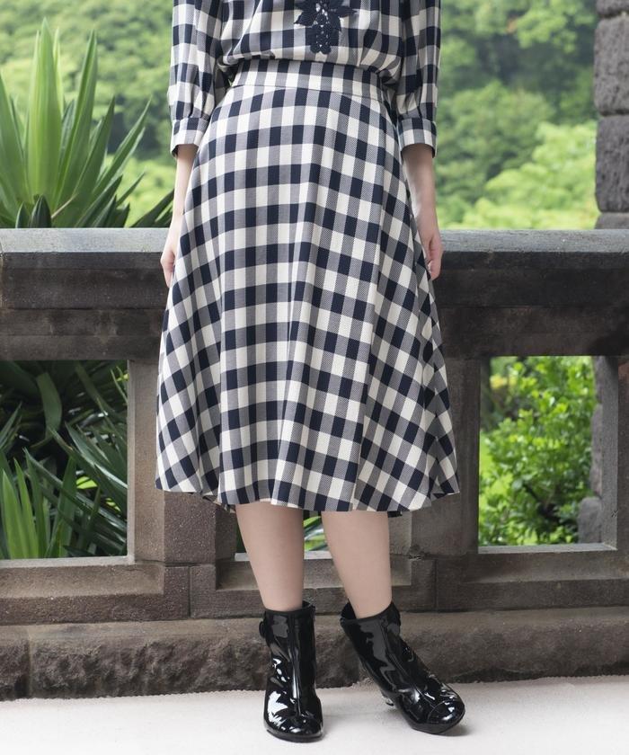 【Sサイズ〜】【ウォッシャブル】ブライトツイルチェックフレアスカート