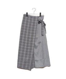 STYLEBLOCK/スタイルブロック STYLEBLOCK 先染めチェック柄切り替えラップ風スカート (ホワイト)/502544613