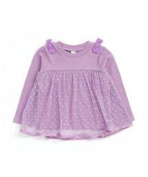 apres les cours/ドットチュール切り替えTシャツ/502381218