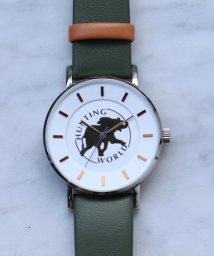 HIROB Ladys/Hunting World ロゴ ウォッチ カーキ/502548918