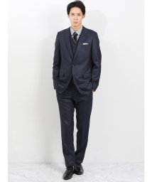 m.f.editorial/ストレッチ光沢ウール混 スリムフィット3ピーススーツ チェック青/502552918