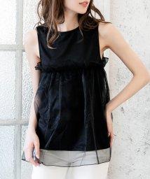 Julia Boutique/オーガンジーフリルノースリーブトップス/510263/502553688