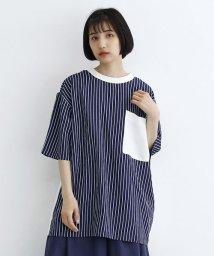 merlot/【TVドラマ着用】ストライプドッキングBIGポケットTシャツ/502554440
