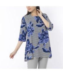 Liliane Burty/綿強撚 ボーダーフラワープリントTシャツ【大きいサイズ】/502556031