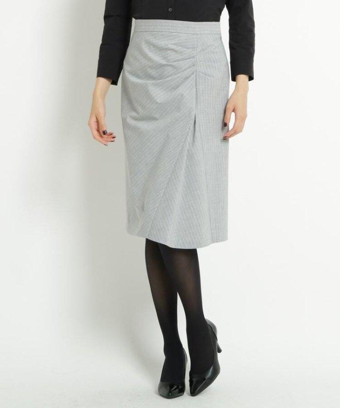 ◆【洗える】ストレッチピンストライプスカート