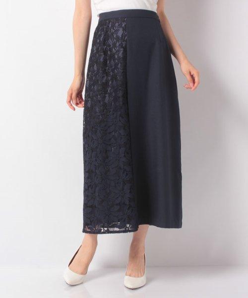 B donna(ビドンナ)/ポリエステルリノン切り替えロングスカート/6095212