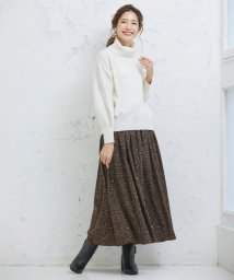 Perle Peche OUTLET/レオパード柄ロングスカート/502562978