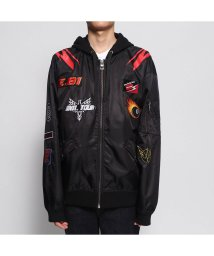 GUESS/ゲス GUESS NYLON HOODED PATCH JACKET (JET BLACK)/502563752