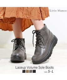 Lirio blanco/レースアップボリュームソールブーツ ブーツ レースアップ 厚底 ショートブーツ レディース 靴 歩きやすい ショート 幅広 ワイズ クッションインソール 黒 甲/502564214