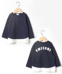 b-ROOM/重ね着風バックロゴTシャツ/502545321