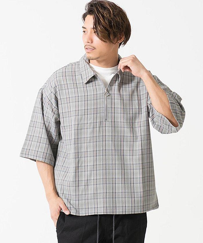 VICCI【ビッチ】チェック柄ハーフジップビッグシルエット半袖シャツ
