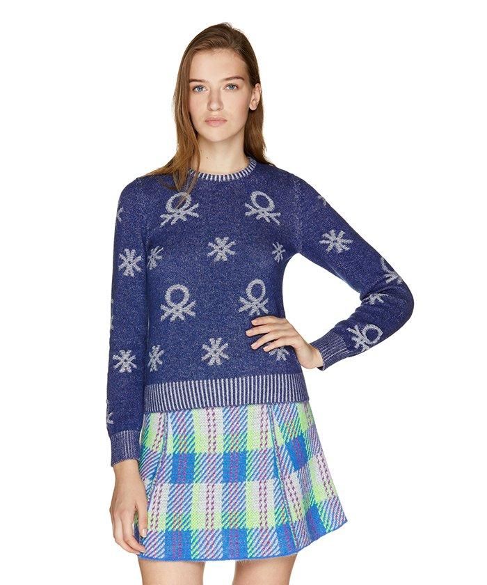デニムニットクルーネックセーター