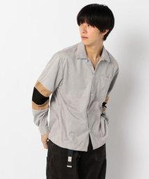 GLOSTER/【WEB限定】袖切替 スエード調 シャツ/502552160