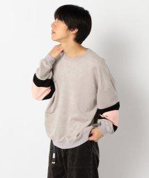 GLOSTER/【WEB限定】袖配色 スエード調 ビッグシルエット プルオーバー/502552161