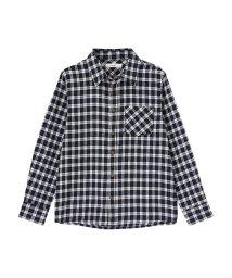 MAC HOUSE(kid's)/Navy ボーイズ ガールズ フランネルシャツ チェックシャツ NG195-KB023/502573327