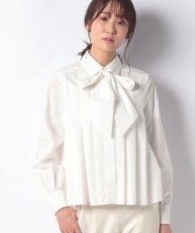 Mint Glam/【洗える】ブロードリボン付き プリーツブラウス/502550214