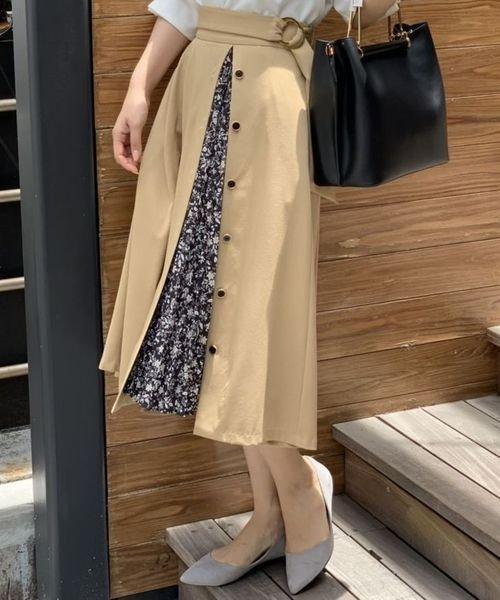 TONAL(トーナル)/ダークフラワーアシメプリーツスカート/009220011