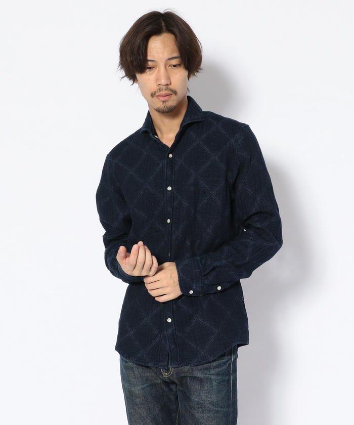 SCROLL(スクロール)二重織りインディゴアーガイルシャツ