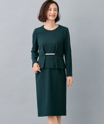 Leilian PLUS HOUSE/パールビーズペプラムブラウス×タイトスカートセット/502505627