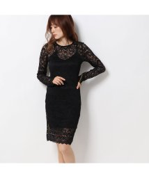 GUESS/ゲス GUESS ESTHER GLITTER LACE DRESS (JET BLACK)/502586365