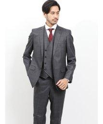 TAKA-Q/光沢ウール混 スリムフィット3ピーススーツ ウィンドペン チャコール/502589411