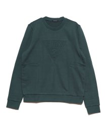 GUESS/ゲス GUESS EMBOSS TRIANGLE LOGO CREW SWEAT (GREEN)/502591587
