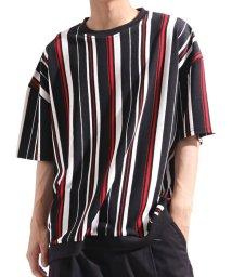 Valletta/【Valletta】 ストレッチストライプ柄ビッグTシャツ[916-001] カットソー Tシャツ クルーネック ビッグ ワイド ストレッチ ニット/502594538